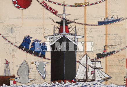 Le SS France, 130 x 89 cm