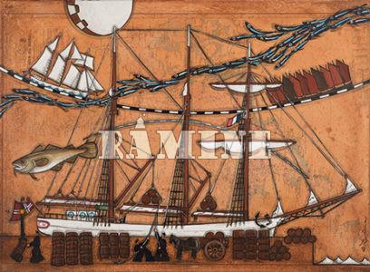 Transport de la rogue de morue, 100 x 73 cm
