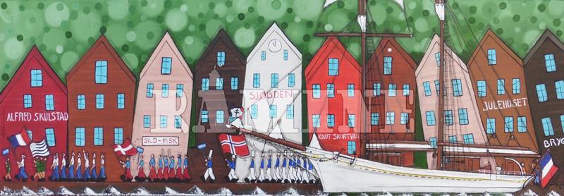 Bryggen et le commerce du poisson, 120 x 40 cm