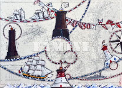 Le retour de l'Hermione en rade de Brest, été 2015