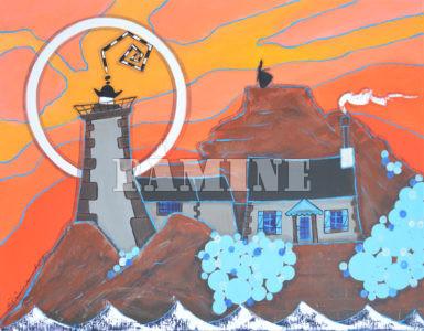 L'île Louët, Ciel orange, 73 x 54 cm