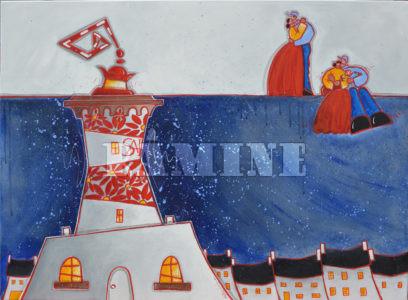 Romance à Saint Mathieu, acrylique sur toile, 73 x 100 cm