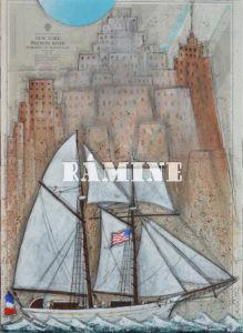 Hudson River, acrylique sur carte marine, 73 x 100 cm