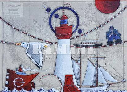 DE Quiberon à Penref, Acrylique sur carte marine, 73 x 100 cm