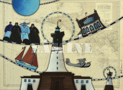 Sein, Acrylique sur carte marine, 73 x 100 cm
