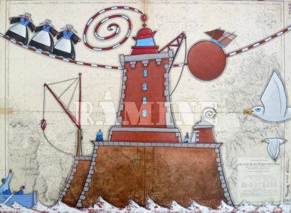 Triagoz, Acrylique sur carte marine, 73 x 100 cm