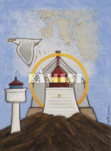 Viberodden, acrylique sur carte marine, 54 x 73 cm