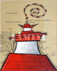 Acrylique sur vieux papiers, 19 x 24 cm