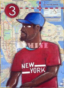 Portrait de New Yorkais Acrylique sur plan de New York, 54 x 73 cm