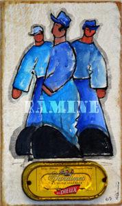 Acrylique sur bois et boîte de sardines, 25 x 15 cm