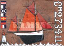 Dundee langoustier de Camaret, acrylique sur voile de vieux gréement, 73 x 100 cm