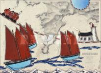 Les canaux sardiniers du Cap de la Chèvre, acrylique sur carte marine, 73x100 cm