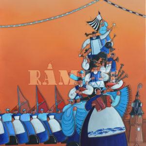 Filets Bleus 2017, acrylique sur toile, 73 x 100cm