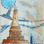 Cordouan, acrylique sur carte marine, 80 x 80 cm