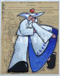 Danse marine, acrylique sur papier ancien, 19x24 cm
