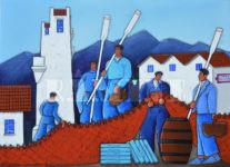 Débarquement des sardines, acrylique sur toile, 73 x 100 cm