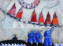 Les Coquillers de la rade de Brest et les sous-mariniers, acrylique sur carte marine, 73 x 54 cm