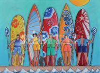Paddleurs, acrylique sur toile, 73 x 100 cm