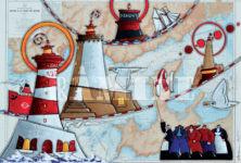 Rade de Brest, acrylique sur carte marine, 73 x 100 cm