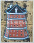 Tour Vauban, avrylique sur journaux anciens, 19 x 24 cm