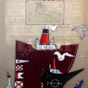 Saint Nazaire, acrylique sur carte marine, 73 x 100 cm