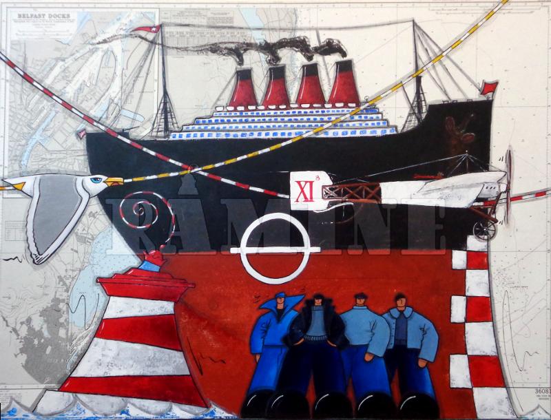 Titanic, acrylique sur carte marine, 73 x 100 cm