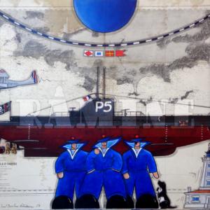 Bacchus et le Rubis, acrylique sur carte marine, 73 x 100 cm