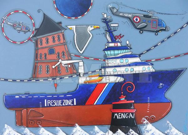 Abeille Bourbon, acrylique sur toile, 73 x 100 cm