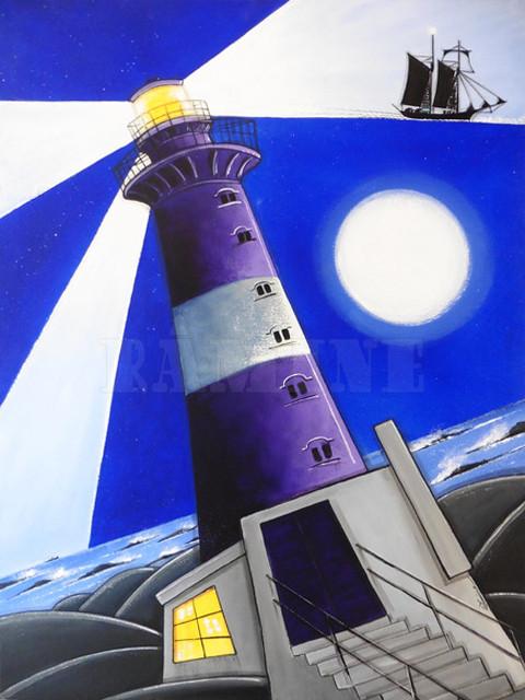 La nuit du phare, acrylique sur lin, 73 x 100 cm