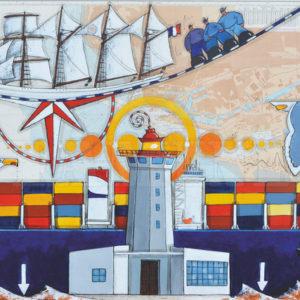 Le Havre, acrylique sur carte marine, 120 x 80 cm