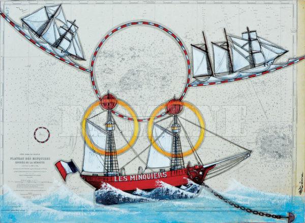 Le bateau feu des Minquiers, acrylique sur carte marine, 73 x 100 cm