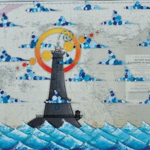 Le phare du Goury, acrylique sur carte marine, 73 x 100 cm