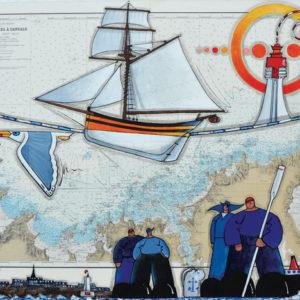 Le renard et Saint Malo, acrylique sur carte marine, 73 x 100 cm