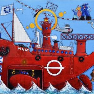 Le bateau-phare MNM, acrylique sur toile, 73 x 100 cm