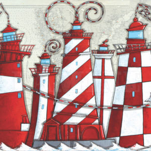 Les phares rouges et blancs, acrylique sur carte marine, 73 x 100 cm