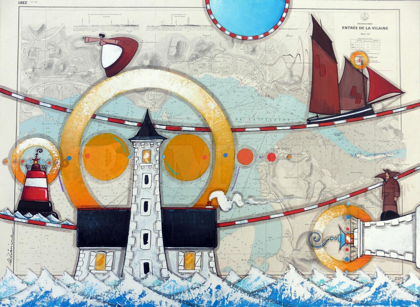 Le phare de Tréhiguier et la chaloupe « Belle de Vilaine »